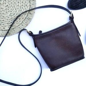 Valerie Stevens Bucket Crossbody Brown Leather